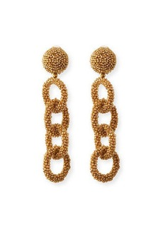 Oscar de la Renta Beaded Link Clip Earrings