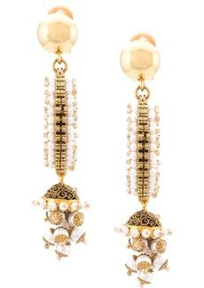 Oscar de la Renta beaded pearl drop earrings