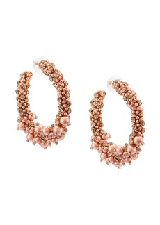 Oscar de la Renta beaded pearl hoop earrings