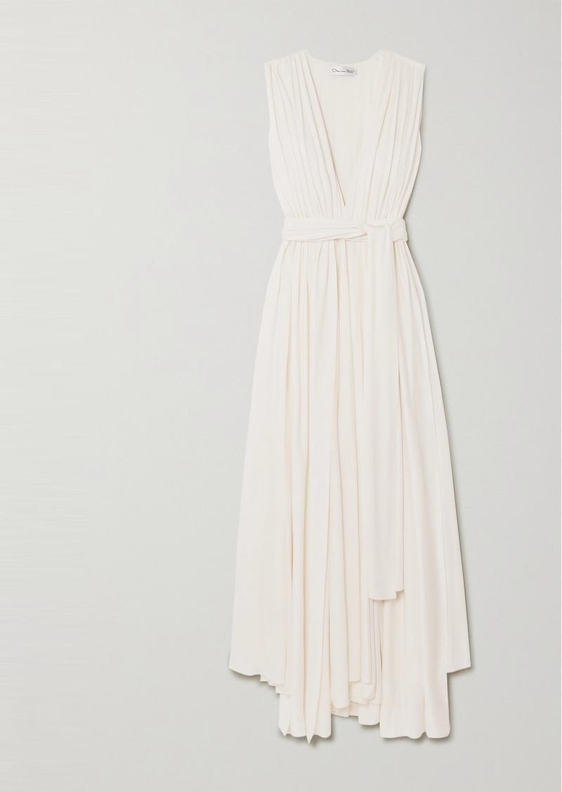 Oscar de la Renta Belted Asymmetric Pleated Cady Gown