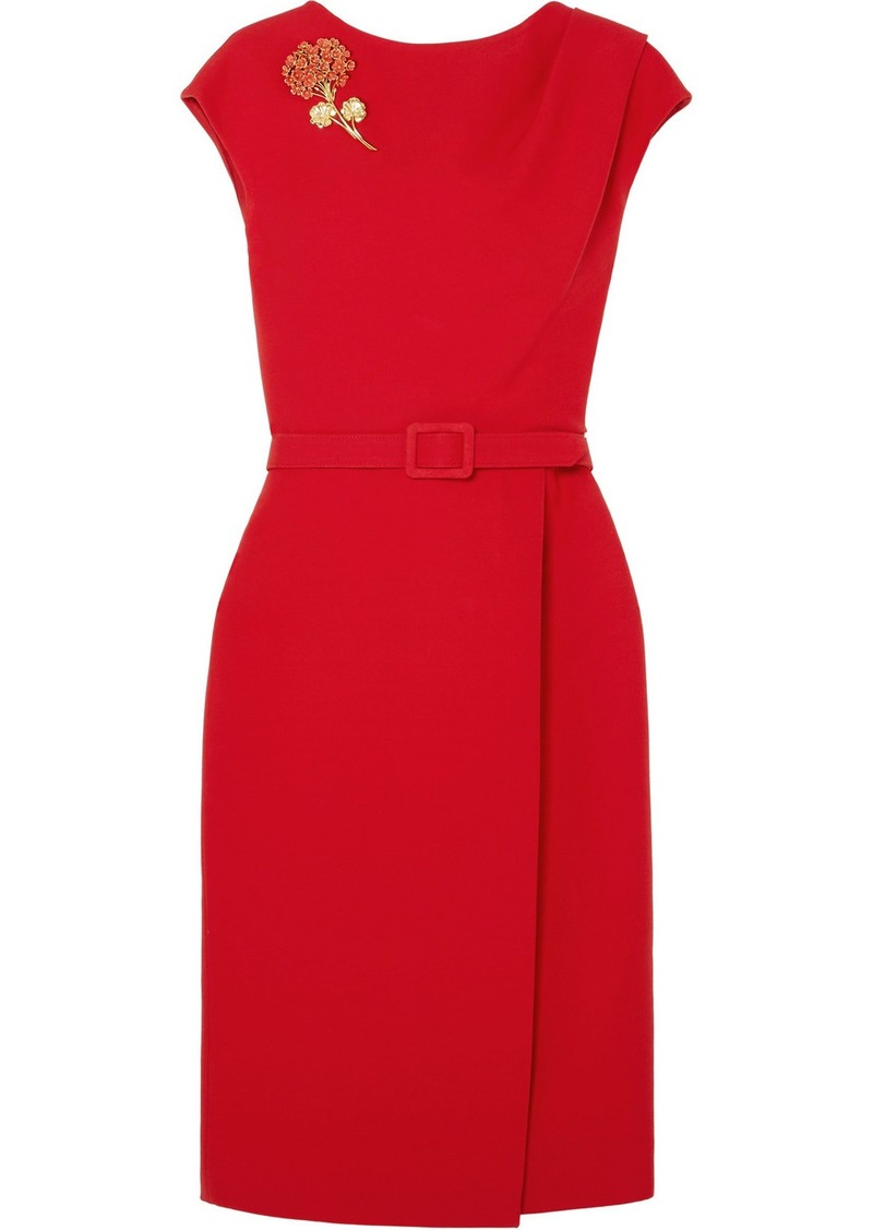 Oscar de la Renta Belted Embellished Wool And Silk-blend Cady Midi Dress