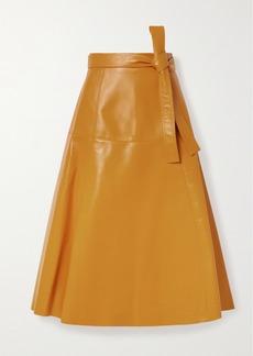 Oscar de la Renta Belted Leather Midi Skirt