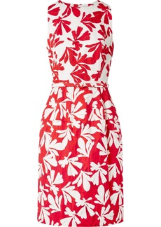 Oscar de la Renta Belted Printed Cotton-blend Twill Dress