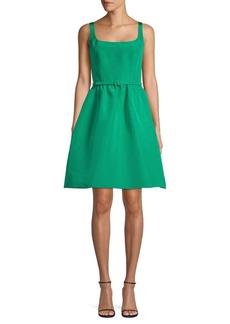 Oscar de la Renta Belted Silk Fit-&-Flare Dress