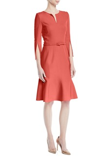 Oscar de la Renta Belted Stretch-Wool Dress with Slit Neckline & Sleeves
