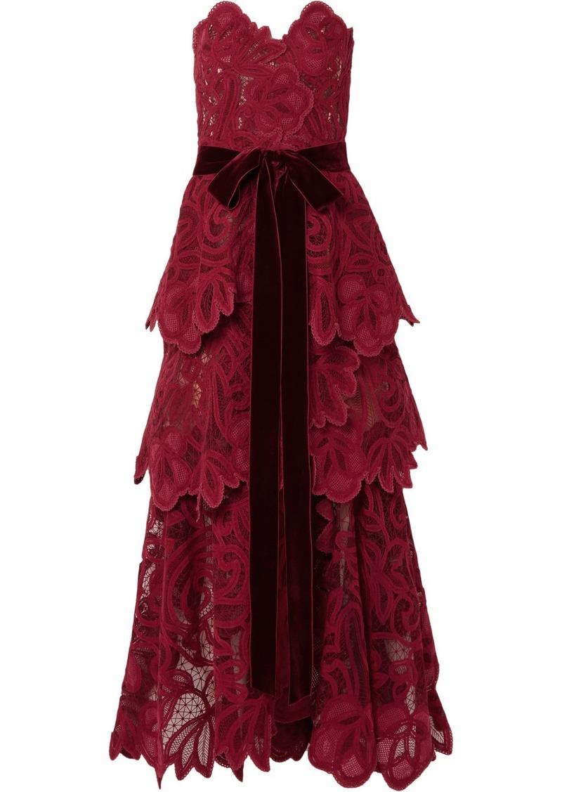 Oscar de la Renta Belted Tiered Velvet-trimmed Guipure Lace Bustier Gown