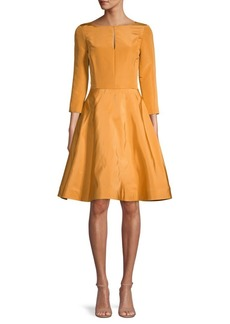 Oscar de la Renta Boatneck Silk Fit-&-Flare Dress