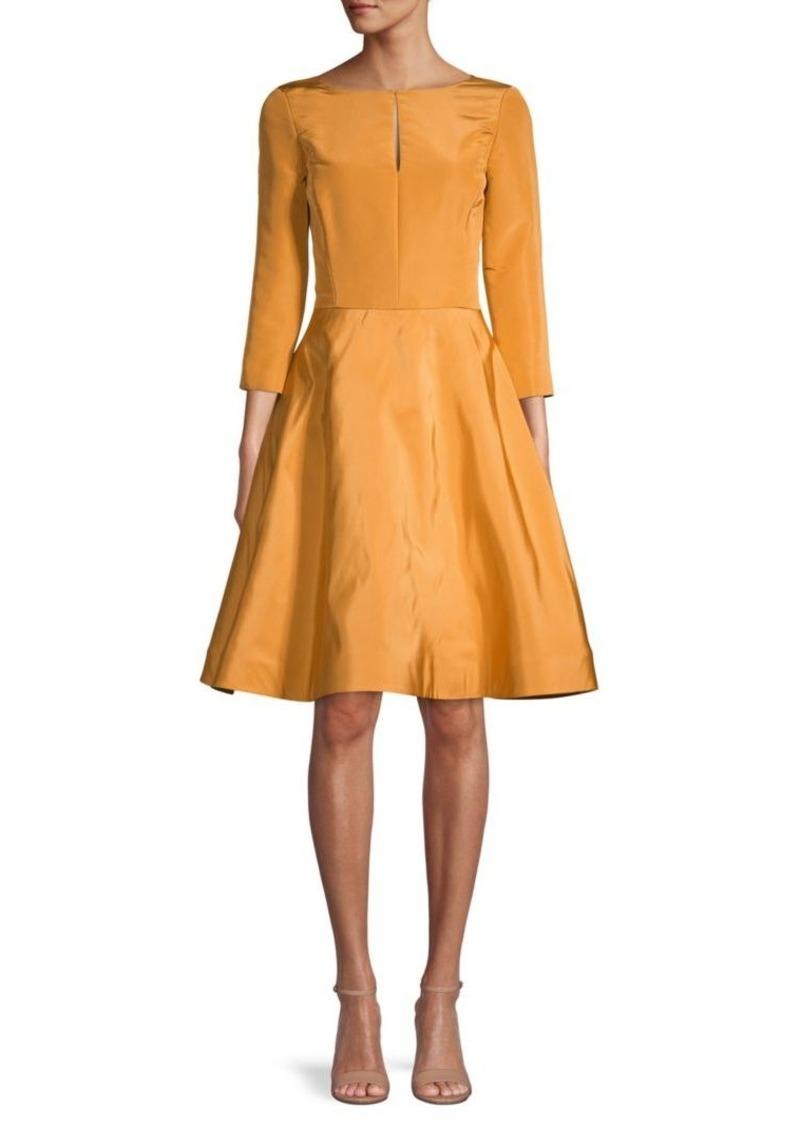 Oscar de la Renta Boatneck Silk Fit-&-Flare Dress