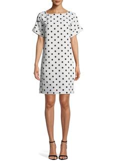 Oscar de la Renta Bow-Back Polka-Dot Crepe Dress