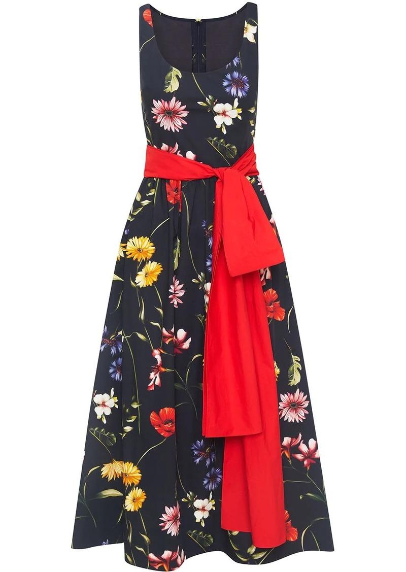 Oscar de la Renta bow-detail floral-print midi dress