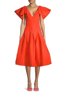 Oscar de la Renta Bow-Shoulder A-Line Silk Dress