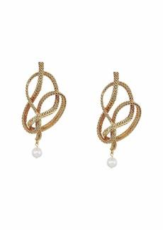 Oscar de la Renta Braided Chain & Pearl P Earrings