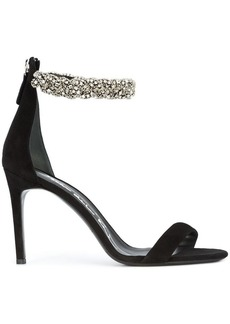 Oscar de la Renta braided rhinestone anklet heels
