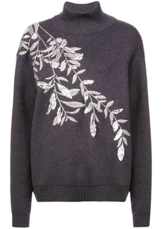 Oscar de la Renta branch-embroidered sweater