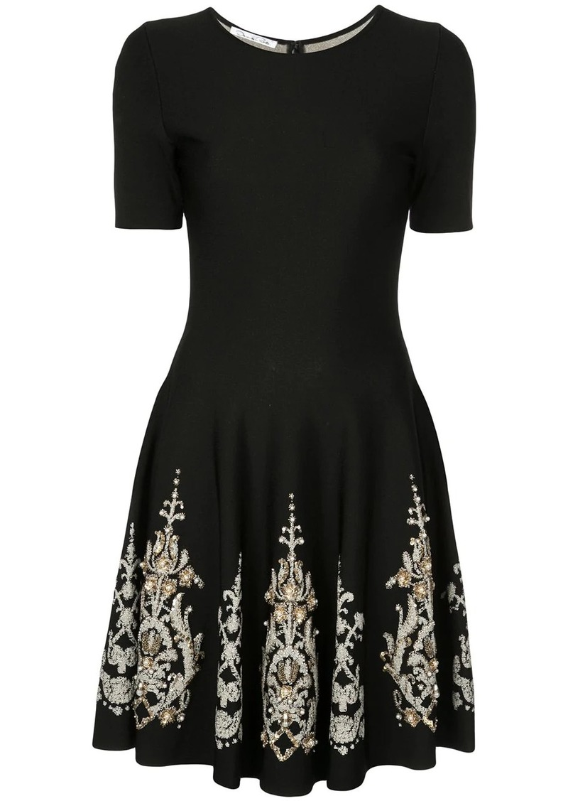 Oscar de la Renta brocade detail dress
