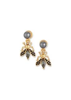 Oscar de la Renta Bug Button Clip-On Earrings