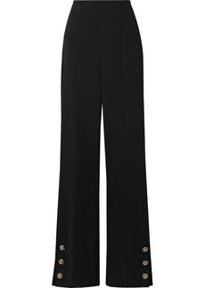 Oscar de la Renta Button-embellished Stretch Wool-blend Crepe Straight-leg Pants