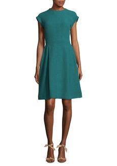 Oscar de la Renta Cap Sleeve Box Pleat Dress
