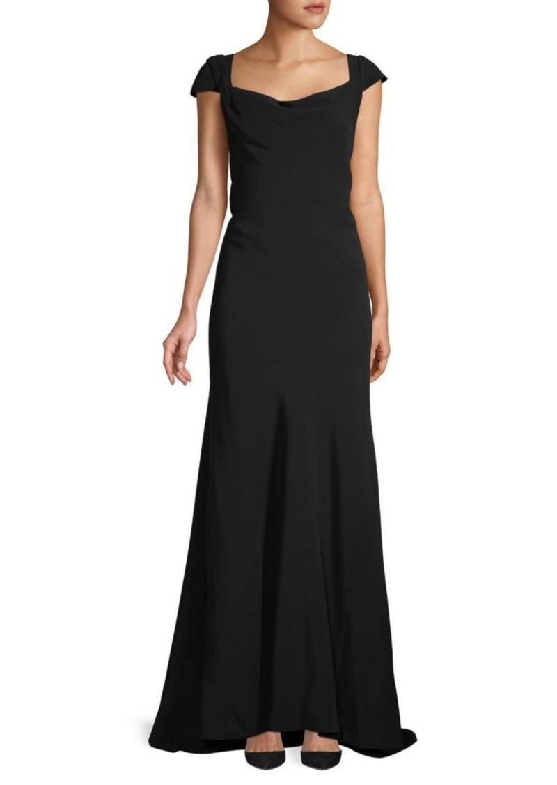Oscar de la Renta Cap-Sleeve Cowlneck Gown