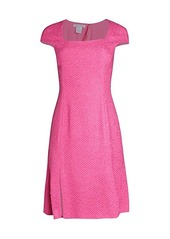 Oscar de la Renta Cap-Sleeve Squareneck Dress
