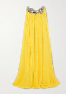 Oscar de la Renta Cape-effect Appliqued Silk-chiffon Gown
