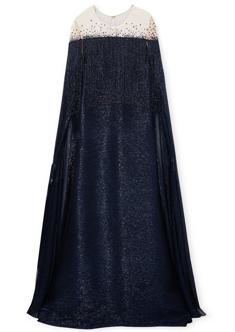 Oscar de la Renta Cape-effect Fringed Silk-blend Lamé And Embellished Tulle Gown