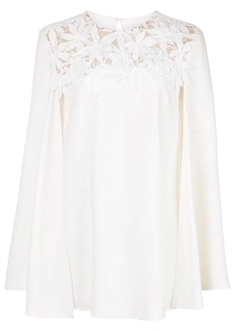 Oscar de la Renta cape sleeve embroidered blouse
