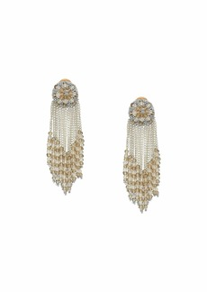 Oscar de la Renta Chain Cluster Beaded C Earrings