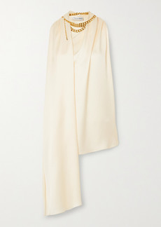 Oscar de la Renta Chain-embellished Draped Satin-crepe Top
