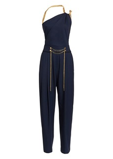 Oscar de la Renta Chain Shoulder Strap Stretch-Wool Jumpsuit