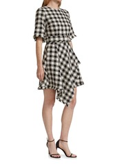 Oscar de la Renta Checkered Belted Handkerchief-Hem Dress