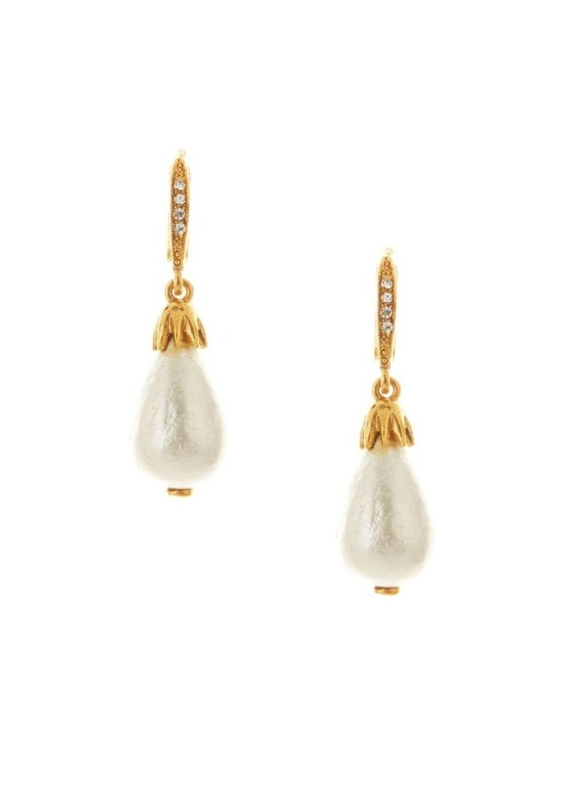 Oscar de la Renta Classic Small Faux-Pearl & Goldtone Drop Earrings