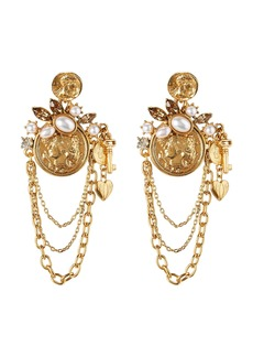 Oscar de la Renta Coin Charm Earrings
