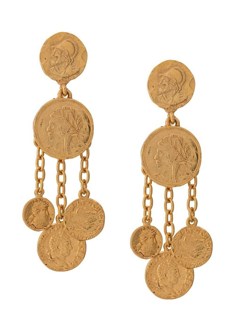 Oscar de la Renta coin pendant earrings