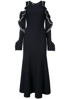 Oscar de la Renta cold-shoulder ruffled knitted midi dress