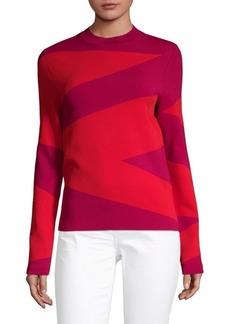 Oscar de la Renta Colorblock Long-Sleeve Sweater