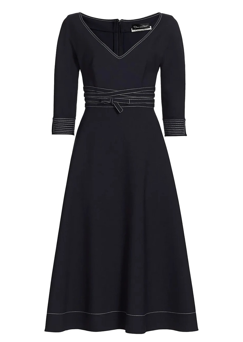 Oscar de la Renta Contrast Stitch Belted Midi Dress