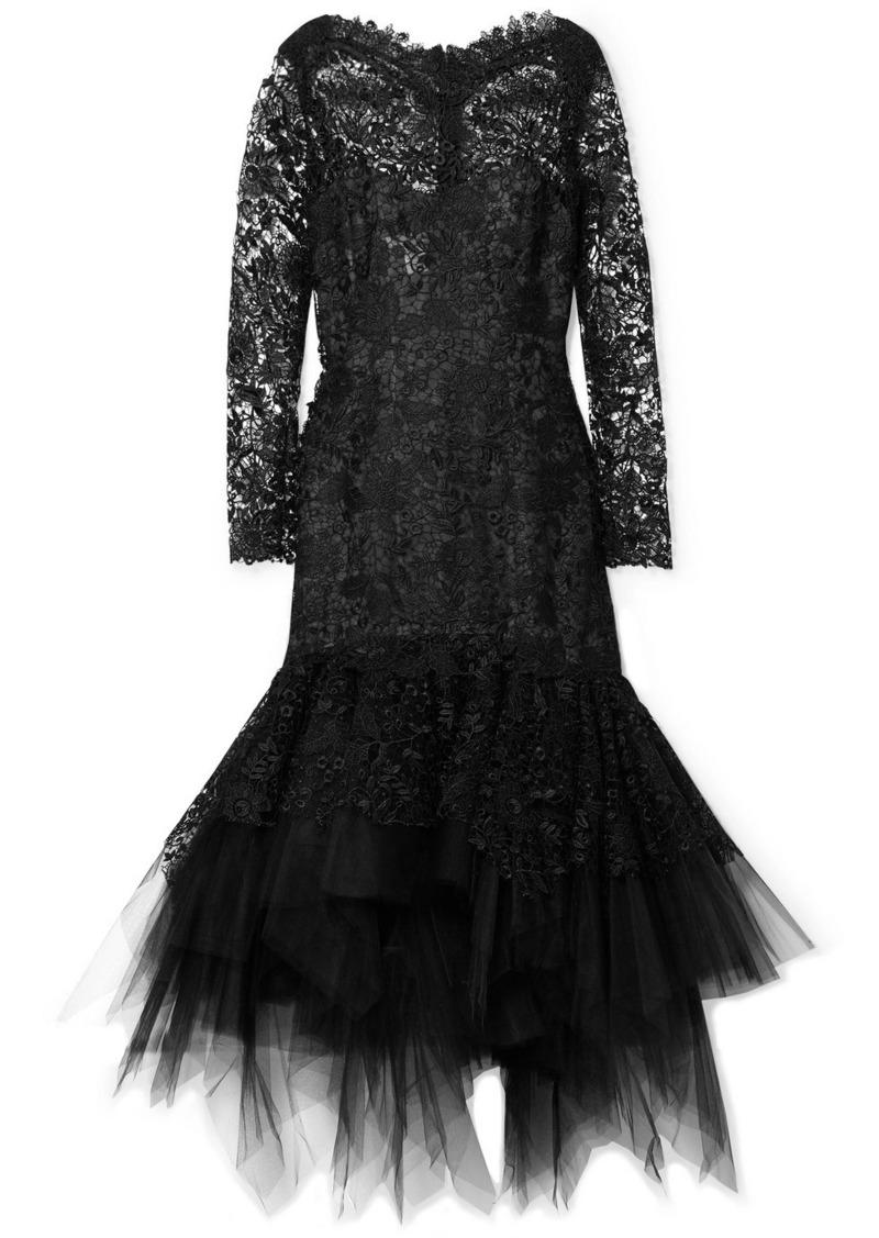 Oscar de la Renta Guipure Lace And Tulle Dress