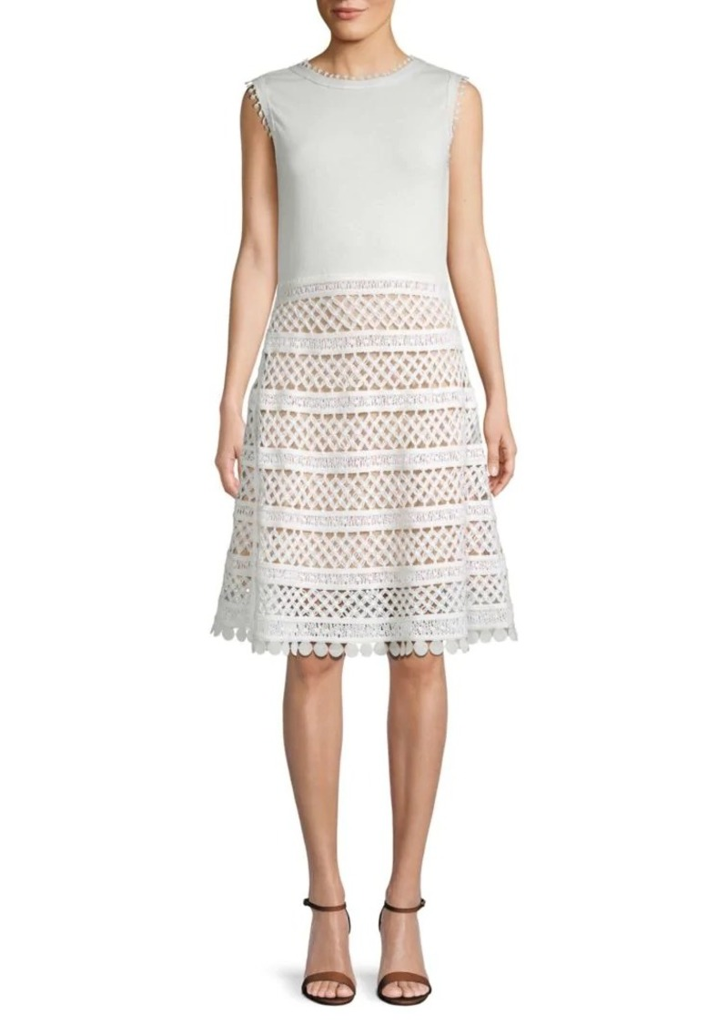 Oscar de la Renta Crochet Cotton A-Line Dress