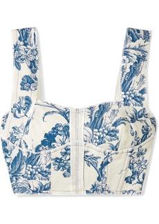 Oscar de la Renta Cropped Printed Cotton-blend Bustier Top