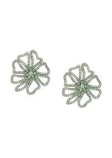 Oscar de la Renta crystal embellished floral earrings
