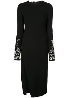 Oscar de la Renta crystal embellished sleeve dress