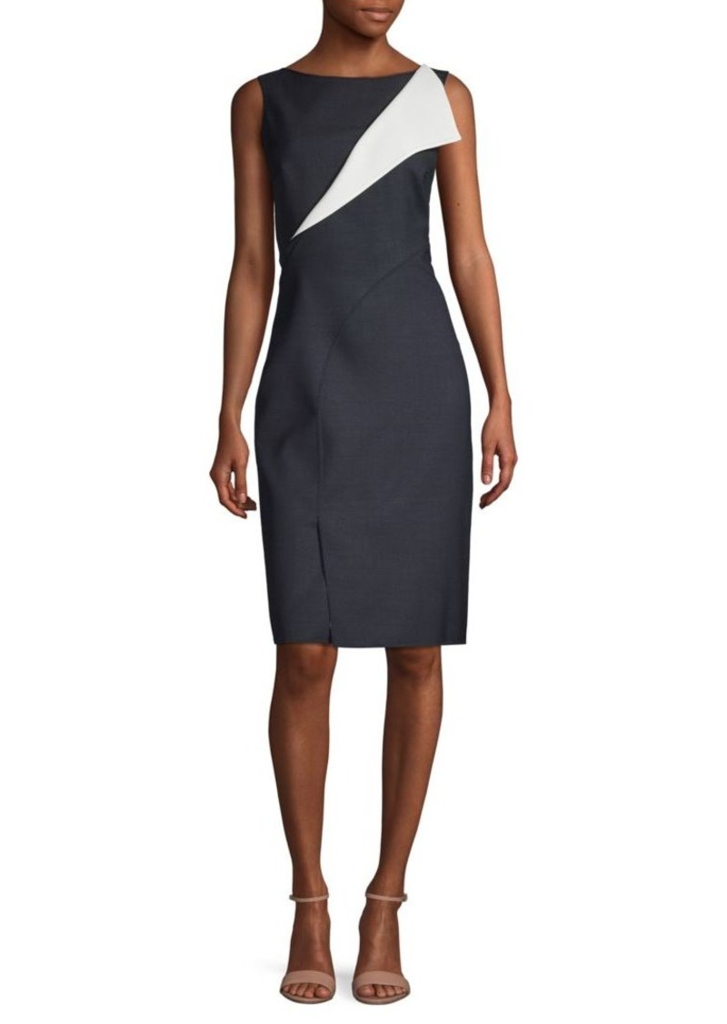 Oscar de la Renta Cutout Stretch Wool Sheath Dress