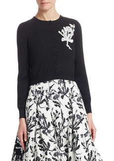 Oscar de la Renta Dandelion-Embroidered Wool Cardigan