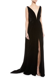 Oscar de la Renta Deep V-Neck Sleeveless Cape-Back Column Velvet Evening Gown
