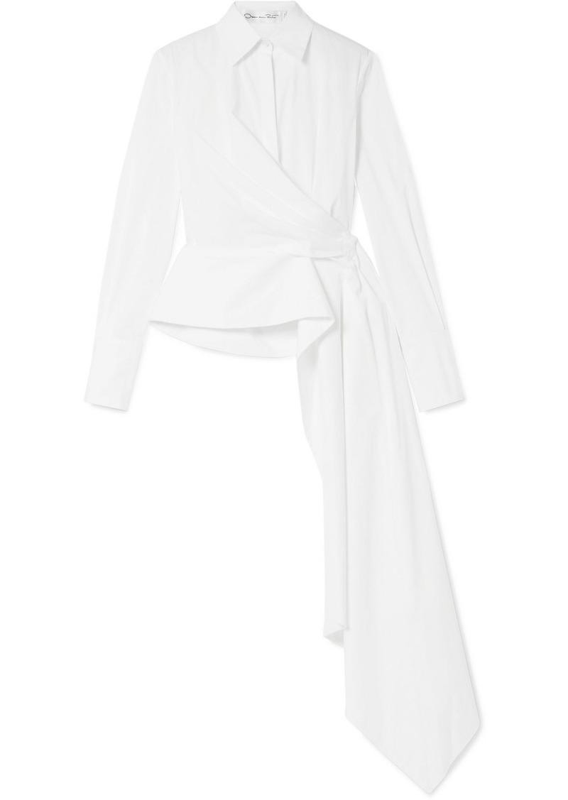 Oscar de la Renta Draped Cotton-blend Poplin Wrap Shirt