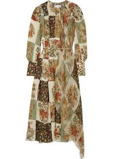Oscar de la Renta Draped Printed Silk-chiffon Midi Dress