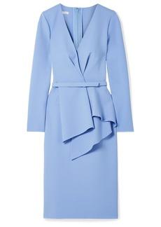 Oscar de la Renta Draped Stretch Wool-blend Dress