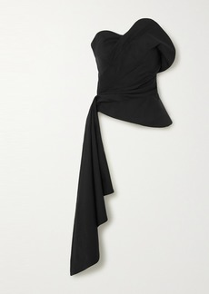 Oscar de la Renta Draped Wool-blend Twill Bustier Top