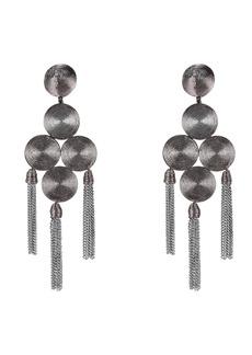Oscar de la Renta Emb Coiled Tassel Earrings